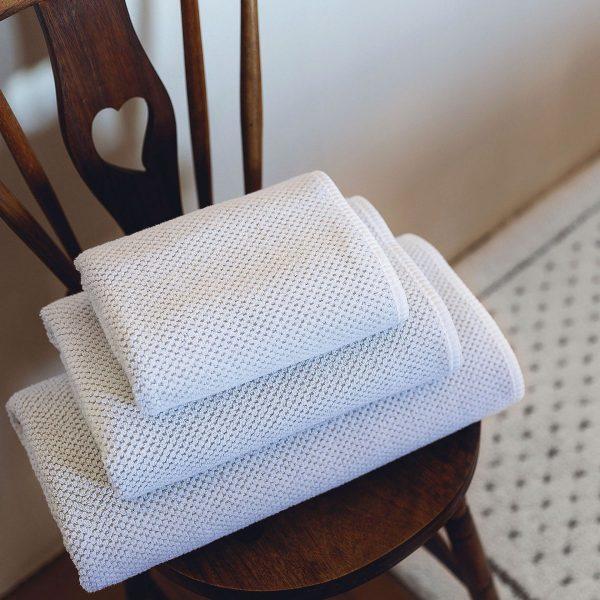Handdukar Linen Waffle Vit Miljö